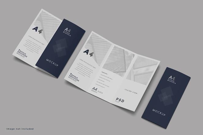 Maquete de folheto com três dobras