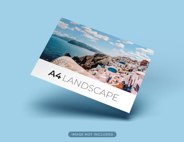 Maquete de folheto paisagem formato a4 flutuando com sombra
