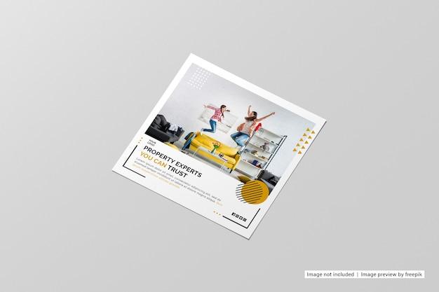 Maquete de folheto quadrado de vista em perspectiva