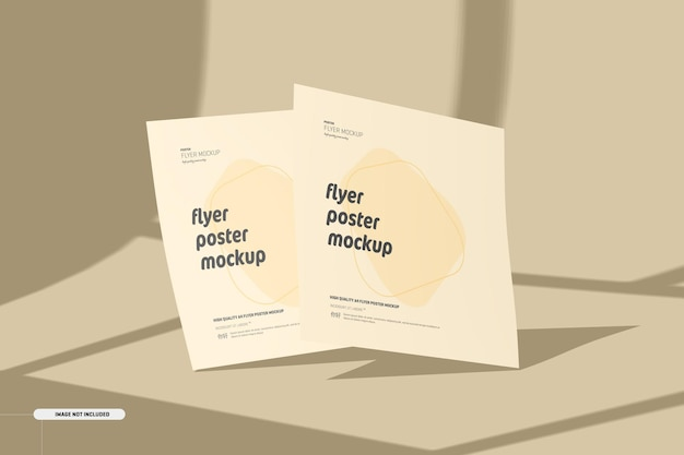Maquete de folhetos quadrados com sobreposição de sombra