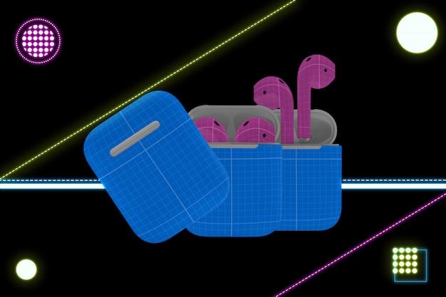 Maquete de fone de ouvido de néon