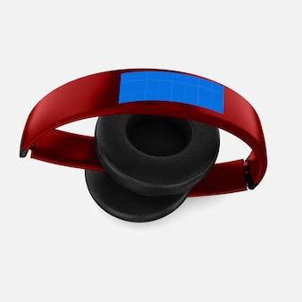 Maquete de fone de ouvido vermelho