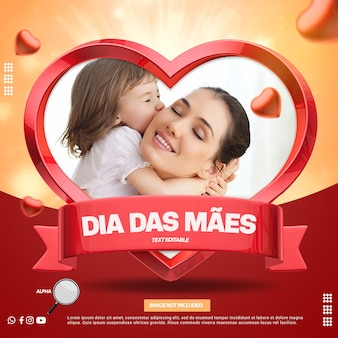Maquete de foto 3d render em formato de coração para composição do dia das mães no brasil