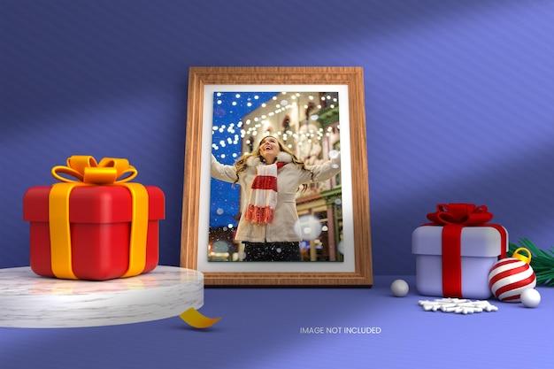 Maquete de foto com fundo de natal renderizado em 3d
