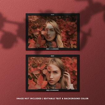 Maquete de foto com moldura de papel de paisagem dupla