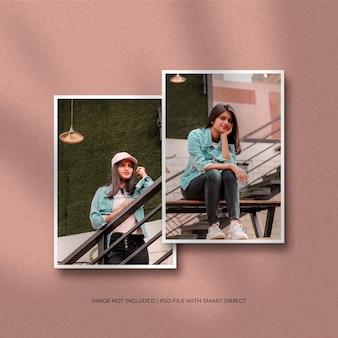 Maquete de foto com moldura de papel duas verticais com sobreposição de sombra