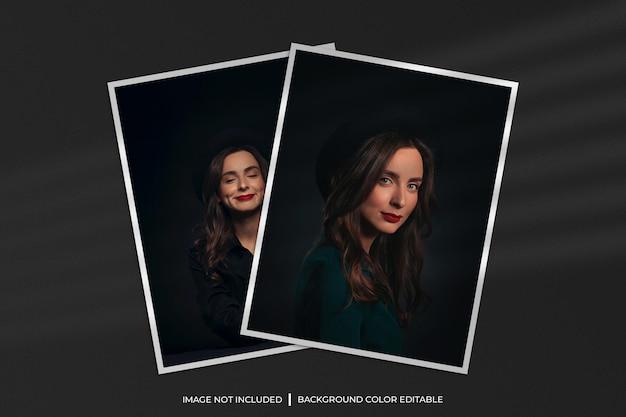 Maquete de foto com moldura de papel duas verticais com sombra