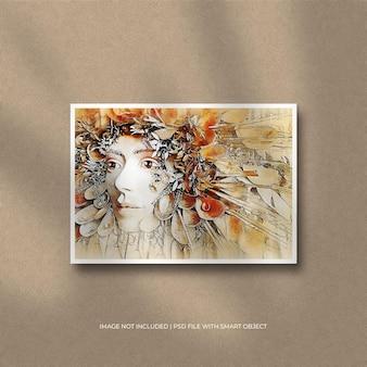 Maquete de foto com moldura de papel paisagem e sobreposição de sombra