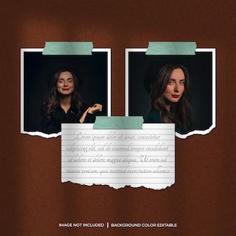 Maquete de foto com moldura de papel rasgado de dois quadrados com papel de nota e sombra Psd Premium