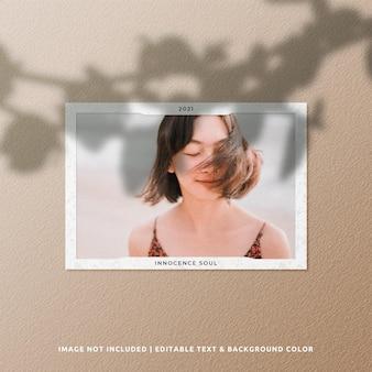 Maquete de foto de moldura de papel de paisagem