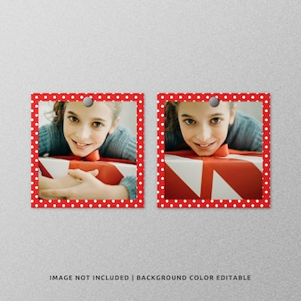 Maquete de foto de moldura de papel quadrada dupla para o natal