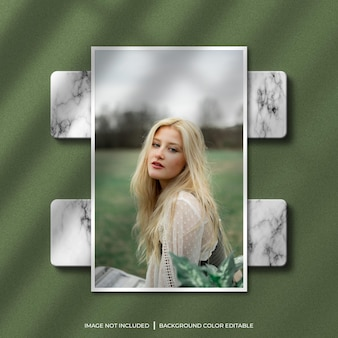 Maquete de foto de moldura de papel vertical com sombra e fundo de mármore