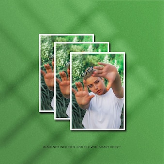 Maquete de foto de moldura de papel vertical com sombra