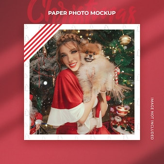 Maquete de foto de papel de natal