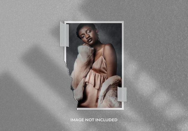 Maquete de foto de retrato de moldura de papel