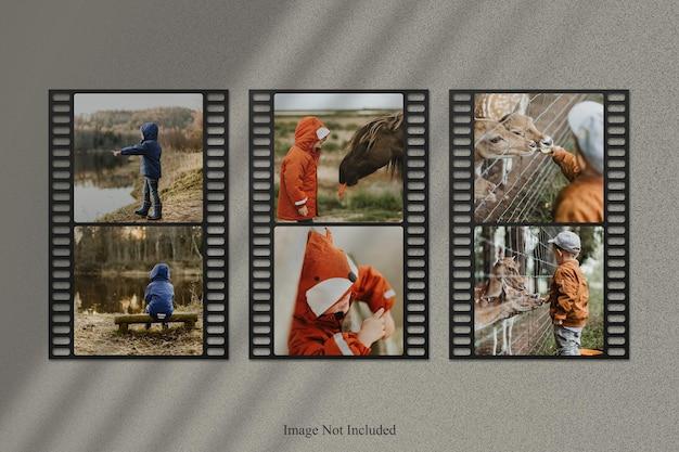 Maquete de foto de tira de filme com sobreposição de sombra