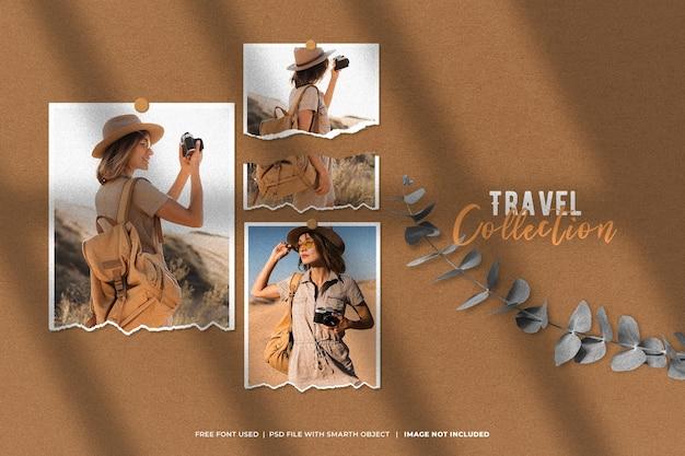 Maquete de foto de viagem polaroid do moodboard