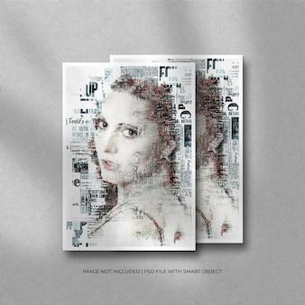 Maquete de foto em papel a4 ou retrato com moldura