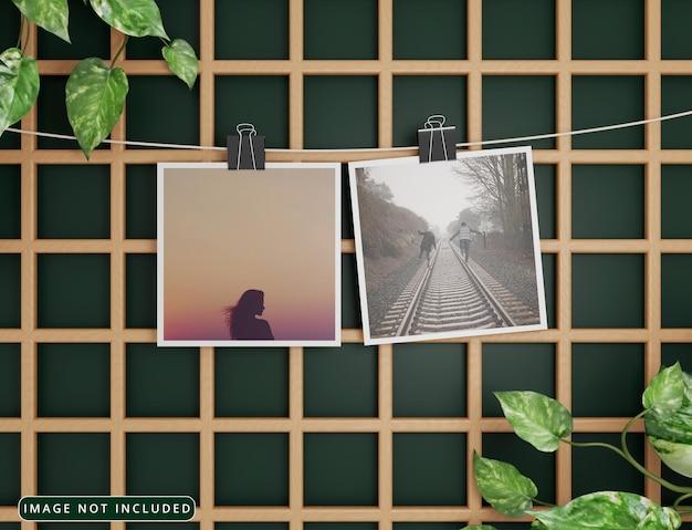 Maquete de foto em papel pendurado