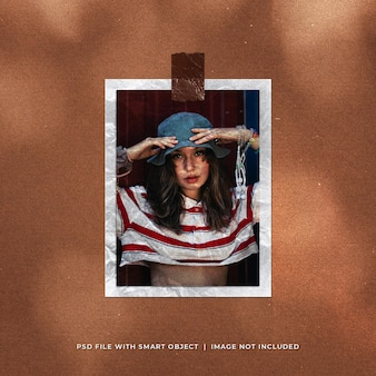 Maquete de foto polaroid de retrato realista com textura de papel enrugada