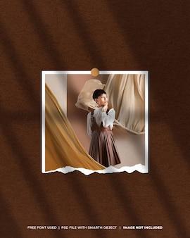 Maquete de foto polaroid do moodboard