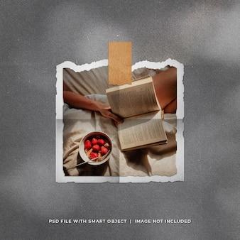 Maquete de foto polaroid quadrada rasgada realista com textura de papel dobrado
