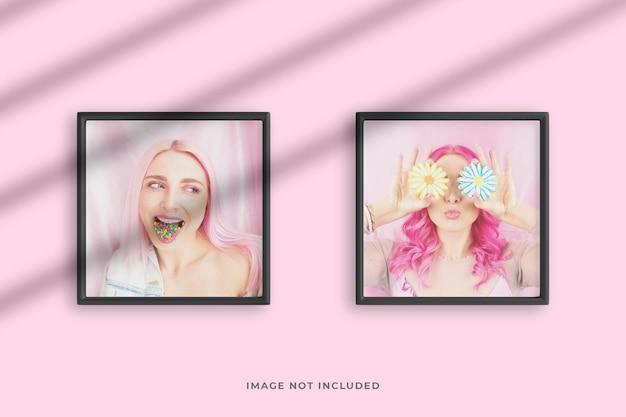 Maquete de fotos minimalista e criativa com molduras quadradas