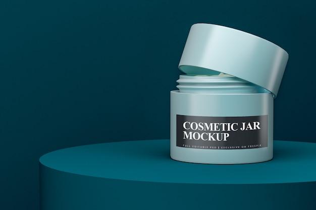 Maquete de frasco cosmético de plástico fosco aberto