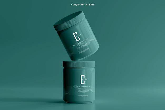 Maquete de frasco cosmético de plástico