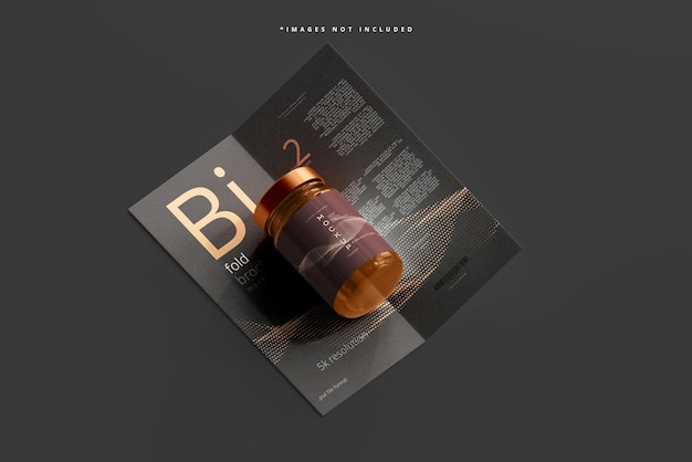 Maquete de frasco cosmético de vidro âmbar com brochura bi fold