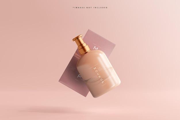 Maquete de frasco cosmético e caixa em exibição