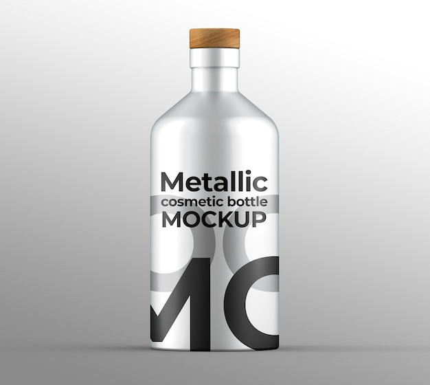 Maquete de frasco cosmético metálico