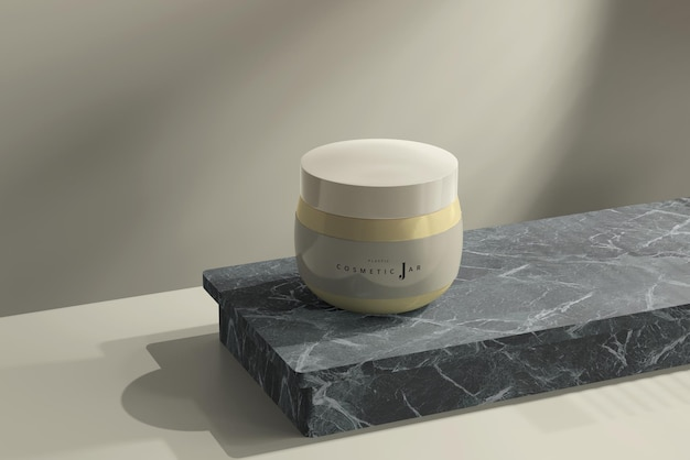 Maquete de frasco cosmético na superfície de mármore