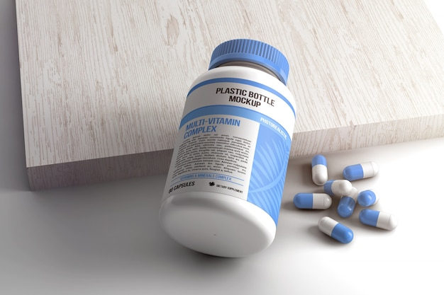 Maquete de frasco de comprimidos cápsula