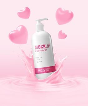Maquete de frasco de creme cosmético anunciando o dia dos namorados