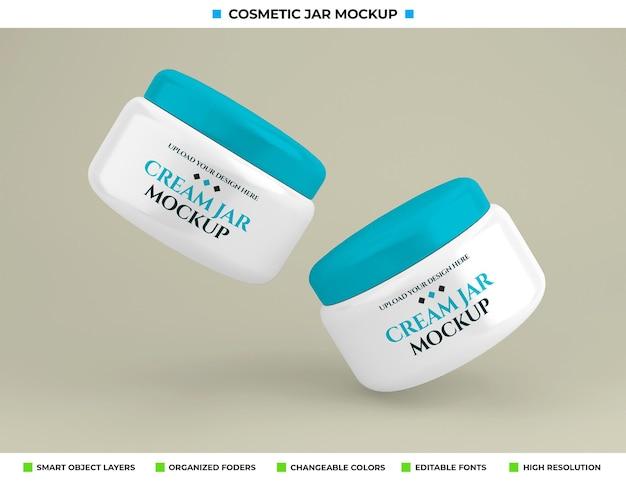Maquete de frasco de creme cosmético no conceito de beleza