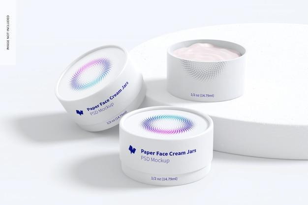 Maquete de frasco de creme facial de 1/2 oz com pedra redonda