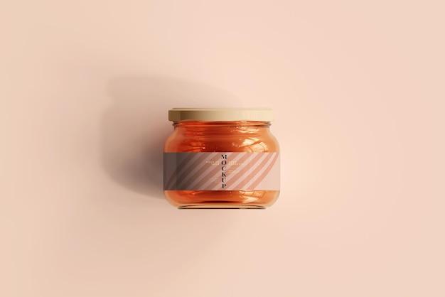 Maquete de frasco de geléia de vidro