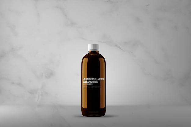 Maquete de frasco de medicamento de vidro âmbar