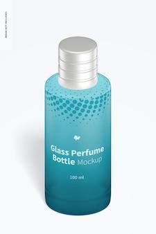 Maquete de frasco de perfume de vidro de 100 ml, vista isométrica