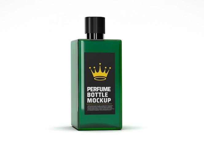 Maquete de frasco de perfume de vidro quadrado