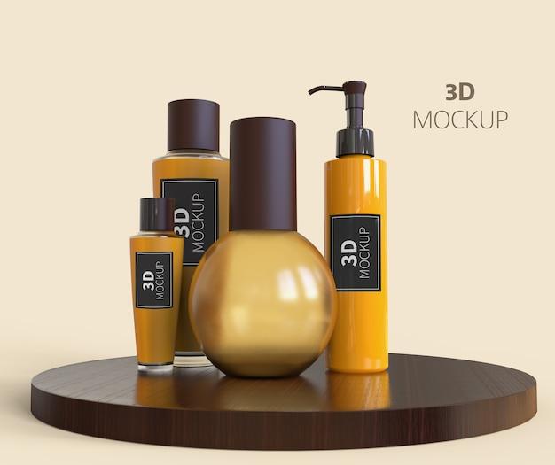 Maquete de frasco de perfume e spray isolada