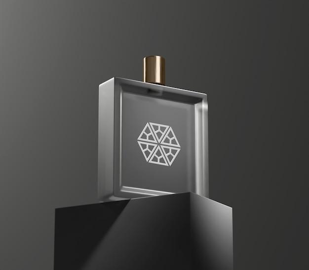 Maquete de frasco de perfume em fundo escuro