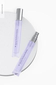 Maquete de frasco de perfume em spray de 10 ml, vista superior