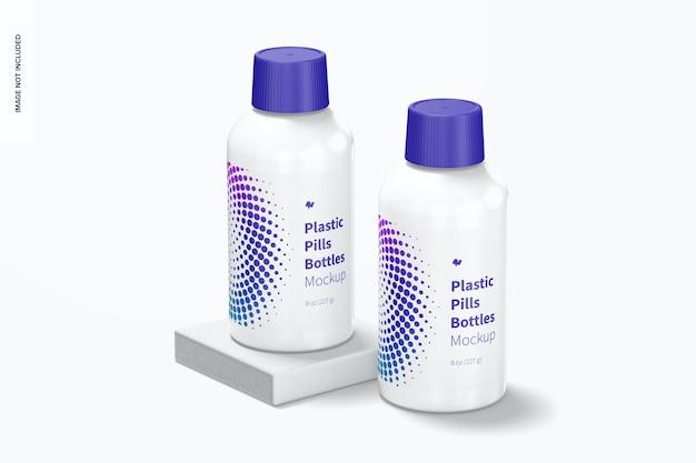 Maquete de frasco de pílulas de plástico, aberto