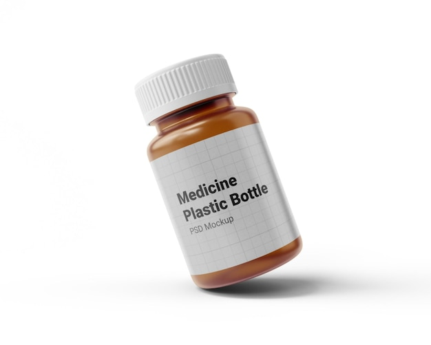 Maquete de frasco de plástico de remédio