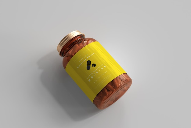 Maquete de frasco de remédio âmbar