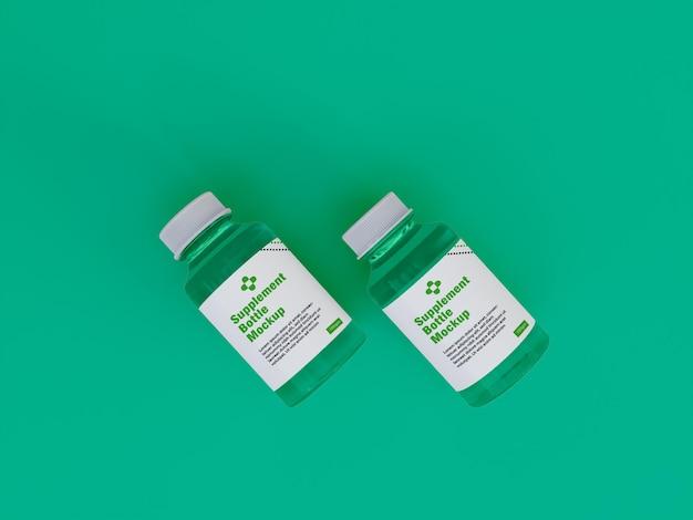 Maquete de frasco de remédio de suplemento brilhante 3d