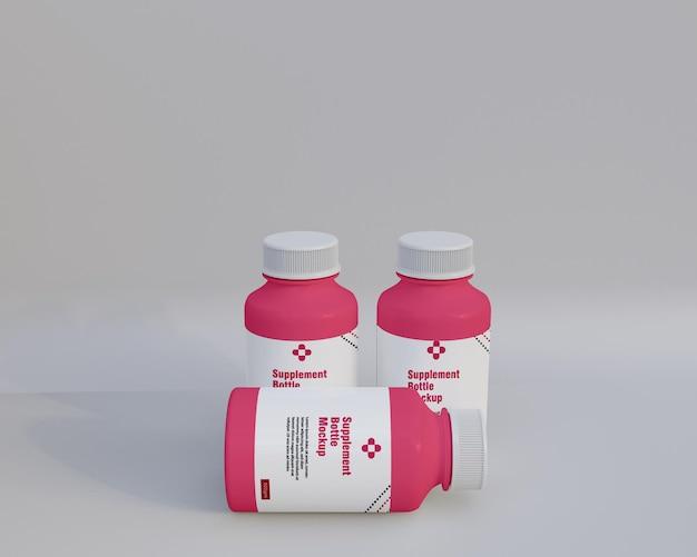 Maquete de frasco de remédio de suplemento de plástico 3d