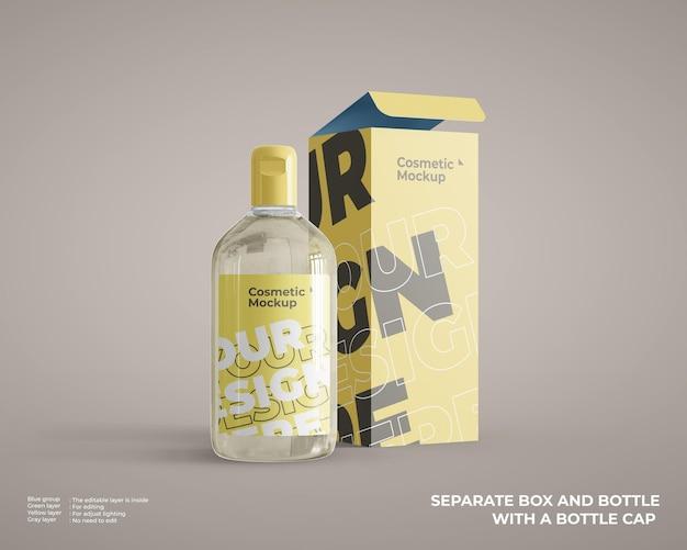Maquete de frasco de spray cosmético com pacote de caixa